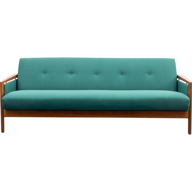 Vintage sofa in walnut with fold-out function 1960s