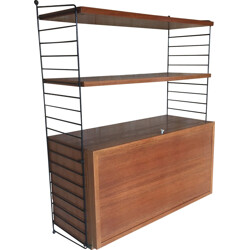 String teak unit with bar element, Nils STRINNING - 1950s