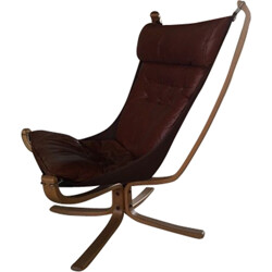 """Falcon"" chair in leather and wood, Sigurd RESSELL - 1970s"