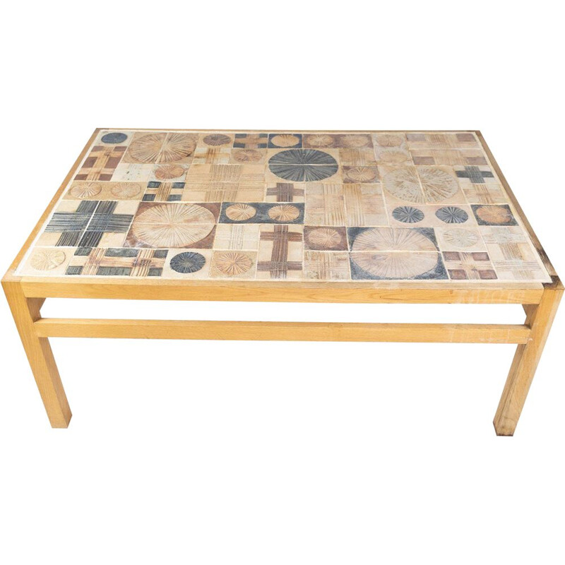 Vintage coffee table in oak and with different tiles by Tue Poulsen 1970