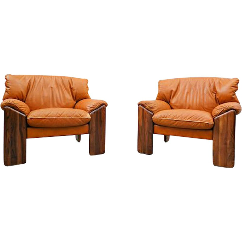 Pair of vintage armchairs from Sapporo for Mobil Girgi, Italy 1970