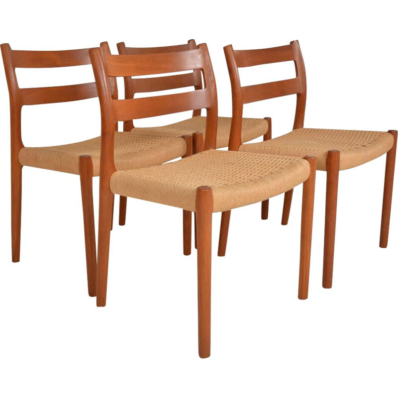 Set of 4 vintage chairs model 84 by Niel Otto Moller by J.L Mollers, Denmark 1960