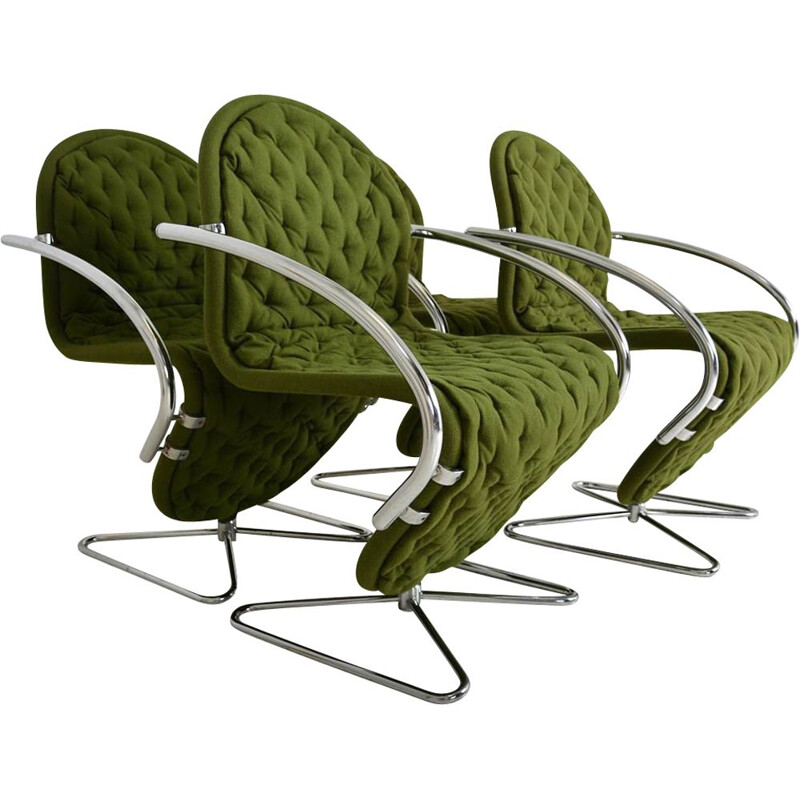 "Lot of 4 vintage luxury chairs ""System 123"" by Fritz Hansen by Verner Panton, Denmark 1980"