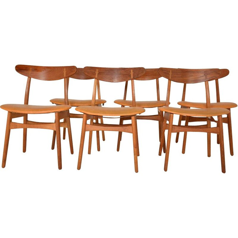 Set of 6 vintage chairs CH30 by Hans Wegner for Carl Hansen & Son