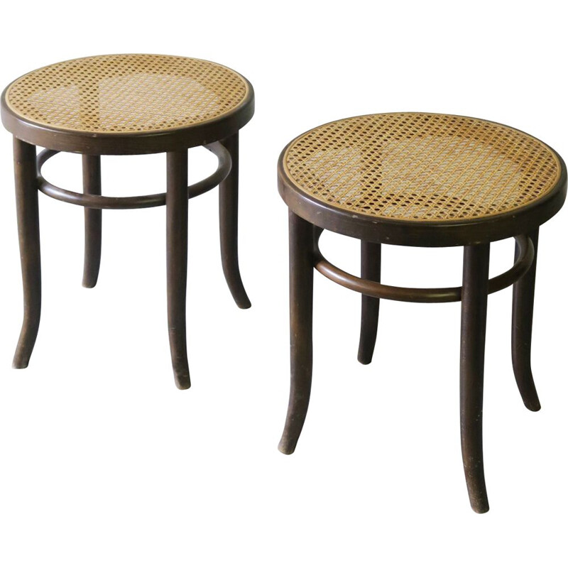 Pair of caned vintage stools