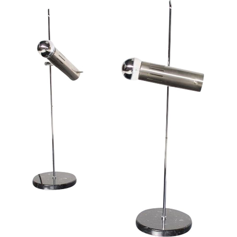 Pair of vintage steel and marble lamps by Alain Richard 1950