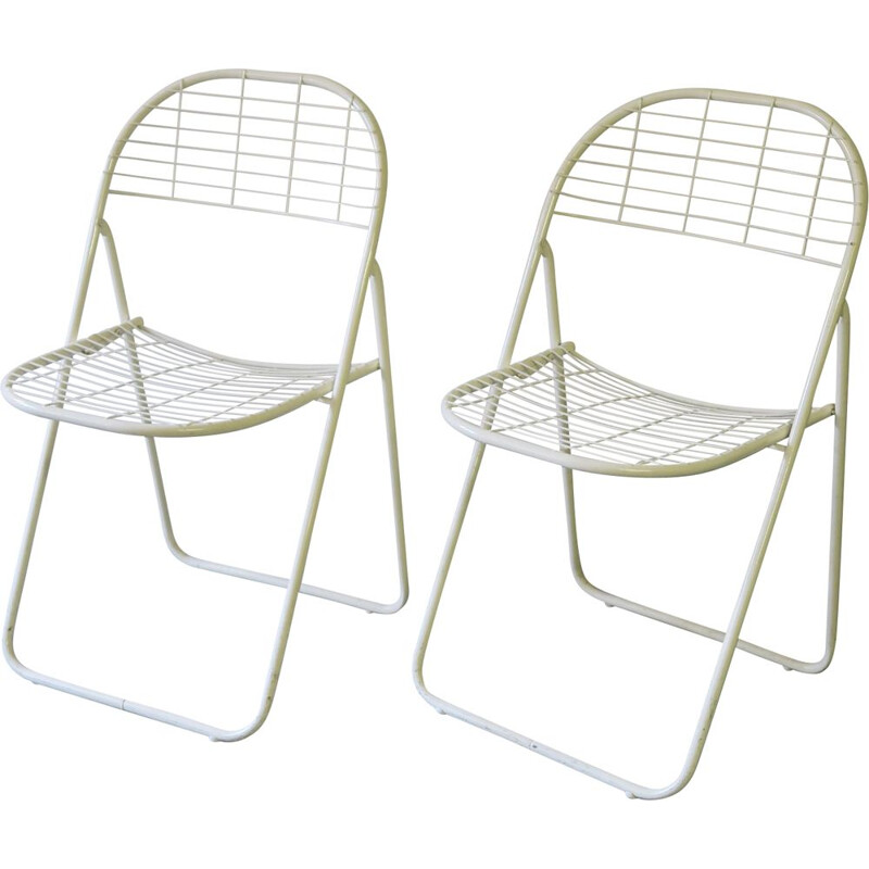 Pair of vintage white metal folding chairs 1980