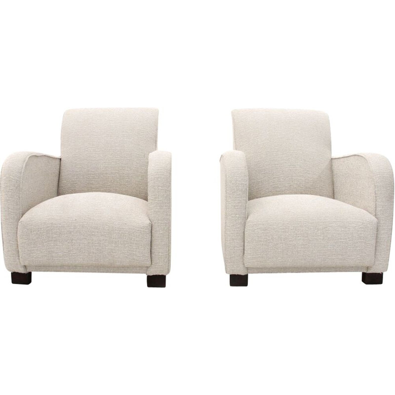 Pair of vintage armchairs in white fabric 1930s