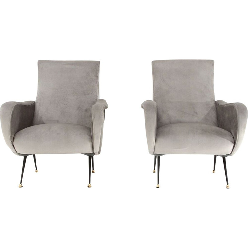 Pair of vintage grey velvet armchairs 1950