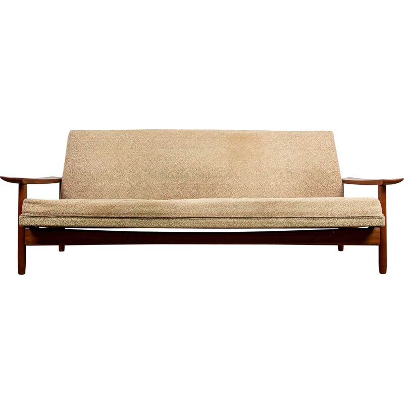 Large vintage 4-seater teak and fabric daybed, Danish 1960