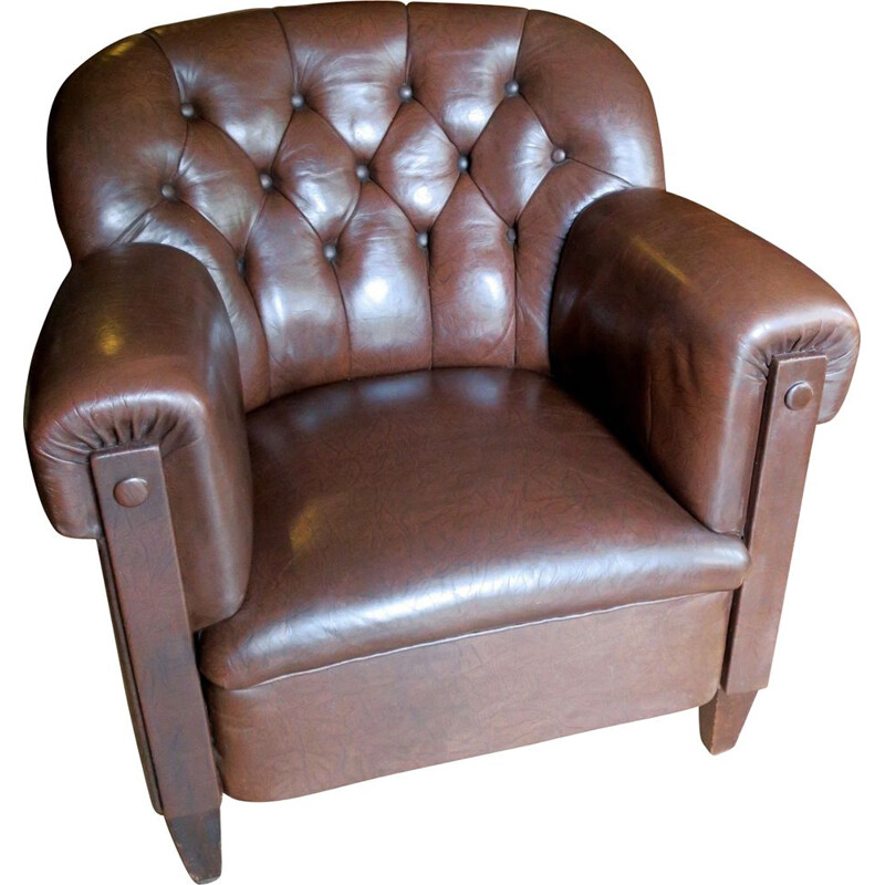 Vintage Dark Brown Leather Club Chair