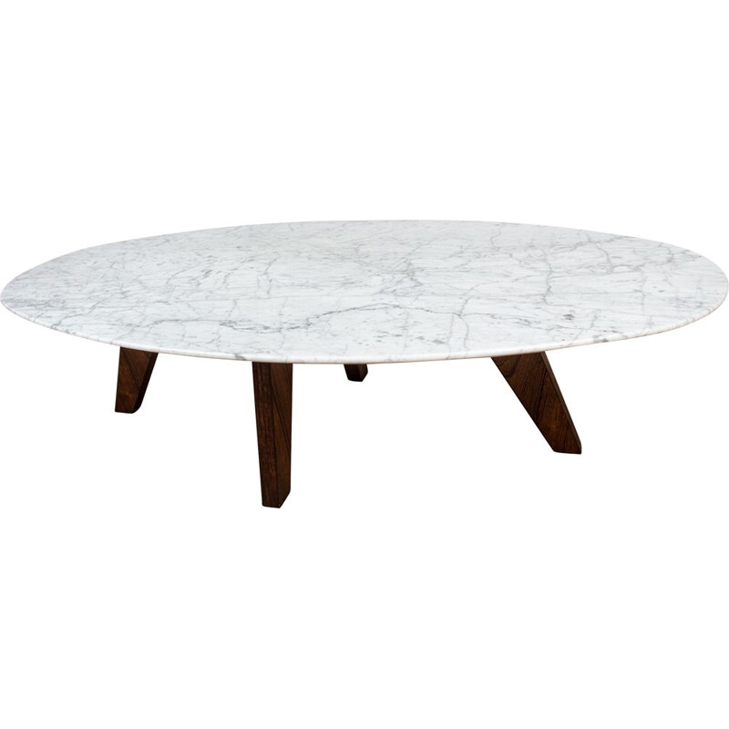 Vintage coffee table in marble and rosewood by Hugues Poignant for Roche et Bobois, France 1970s