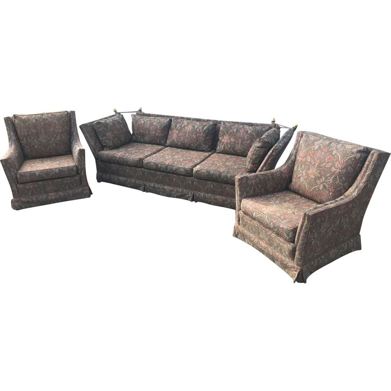 Vintage 3-seater sofa and 2 set armchairs house Jansen 1960s