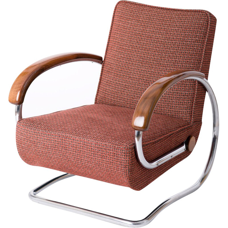 """UP Zavody """"H-221"""" armchair in red fabric and chromed steel, Jindrich HALABALA - 1930s"""