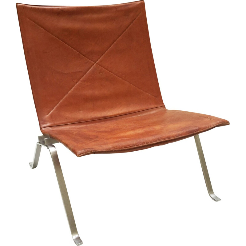 """PK22"" low chair in leather and chrome, Poul KJAERHOLM - 1960s"
