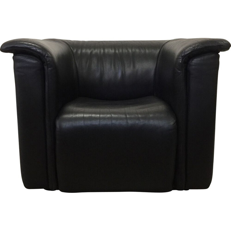 Vintage Black leather Hochbarett chair by Karl Wittmann 1970s