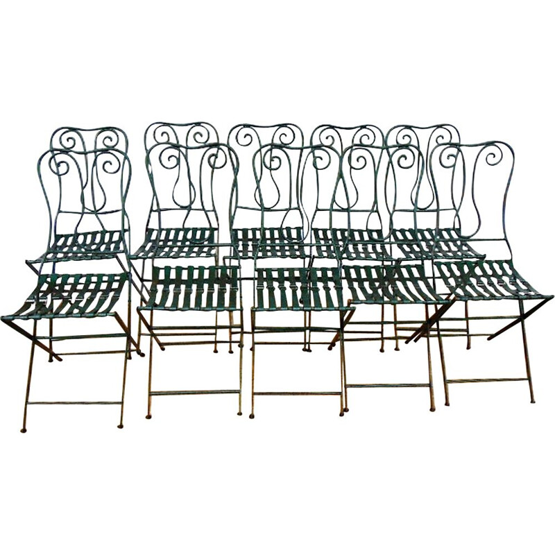 Set of 10 vintage iron chair 1930s