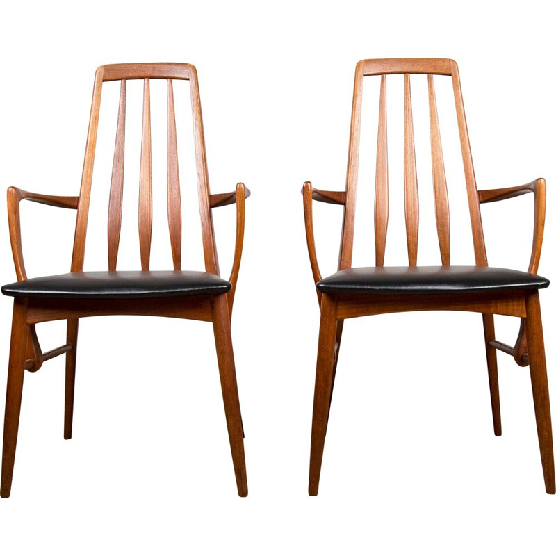 "Pair of vintage teak dining armchairs ""Eva"" by Niels Koefoed, Danish 1960s"