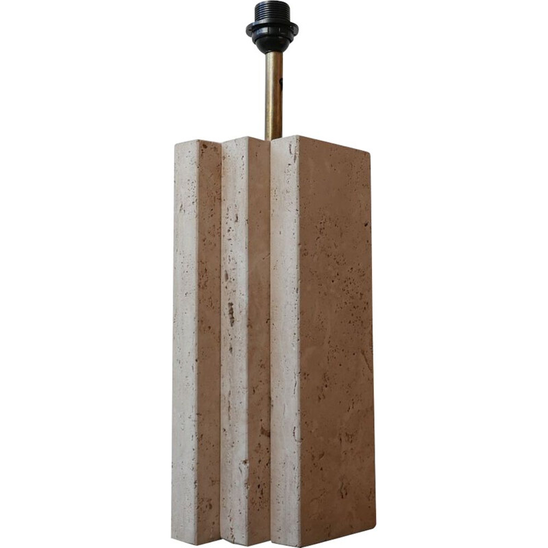 Vintage Travertine Geometric Table Lamp, Belgium 1970s