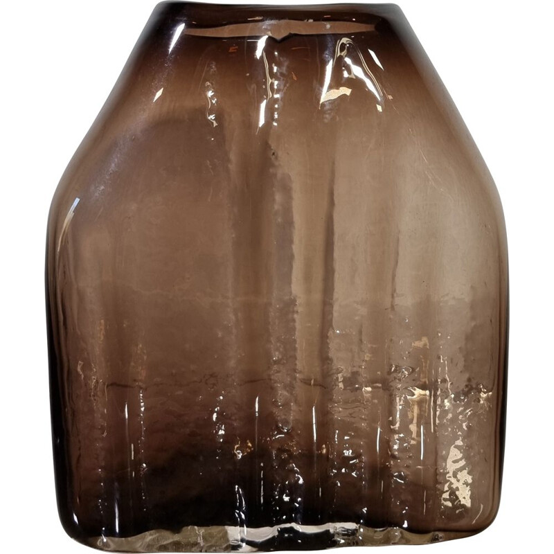 Vintage brutalist glass vase by G. Baxter for Whitefriars 1970s
