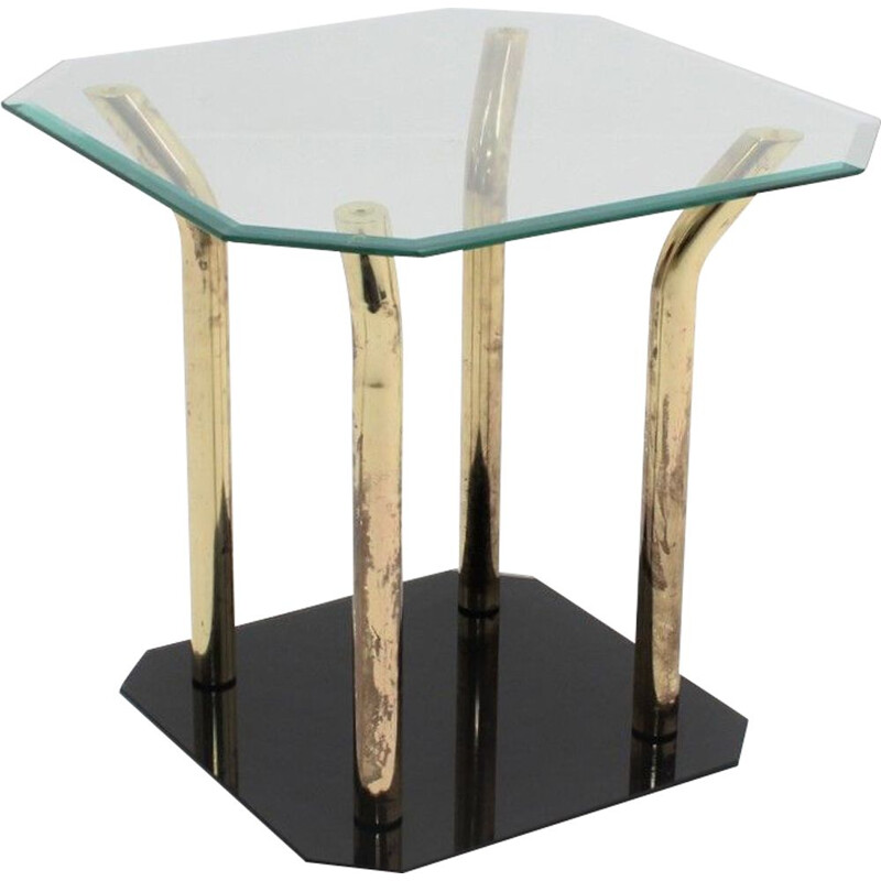 Vintage Cut Glass and Brass Side Table, Italian 1970s