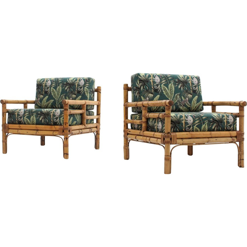Pair of vintage Rattan Armchairs by Vivai del Sud 1970s