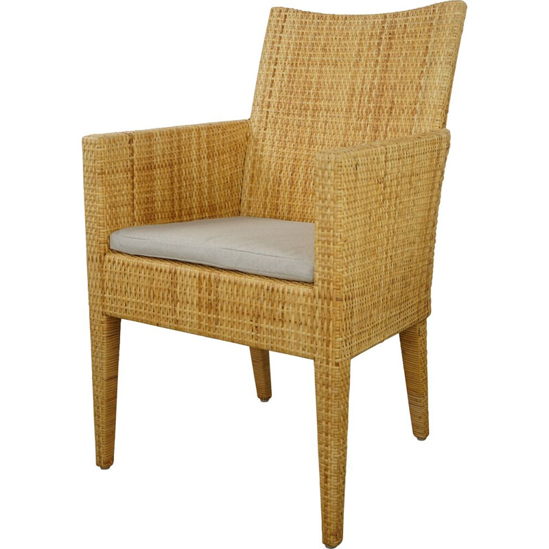 Vintage armchair in wood and woven rattan