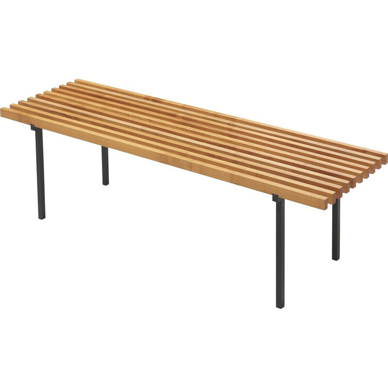 Vintage Slatted Bench in Beech and Lacquered Steel 1960s