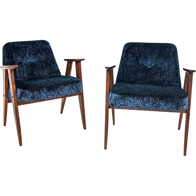 Pair of vintage 366 model armchairs by J. Chierowski, Poland 1960s