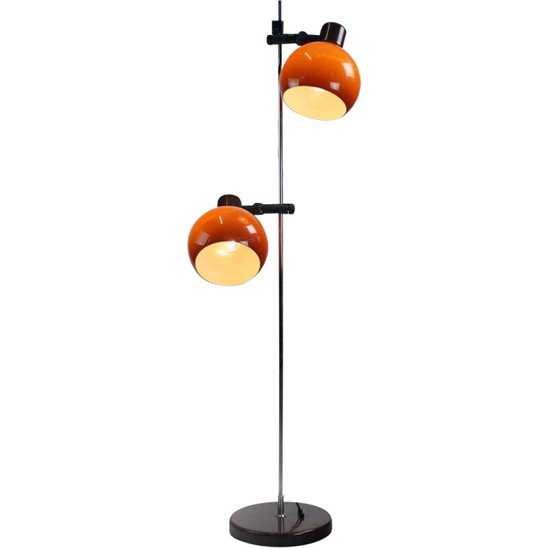 Vintage Free Standing Floor Lamp With Two Orange Shields, Hungary 1970s