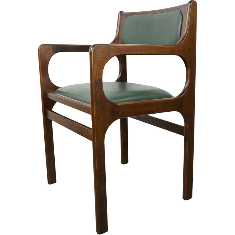 Vintage office armchair in wood and dark green imitation leather 1960s
