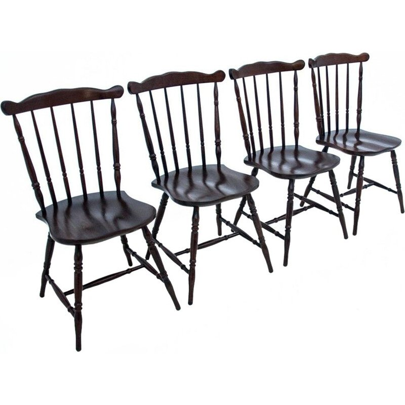 Set of 4 vintage dining wooden chairs, Poland 1930s