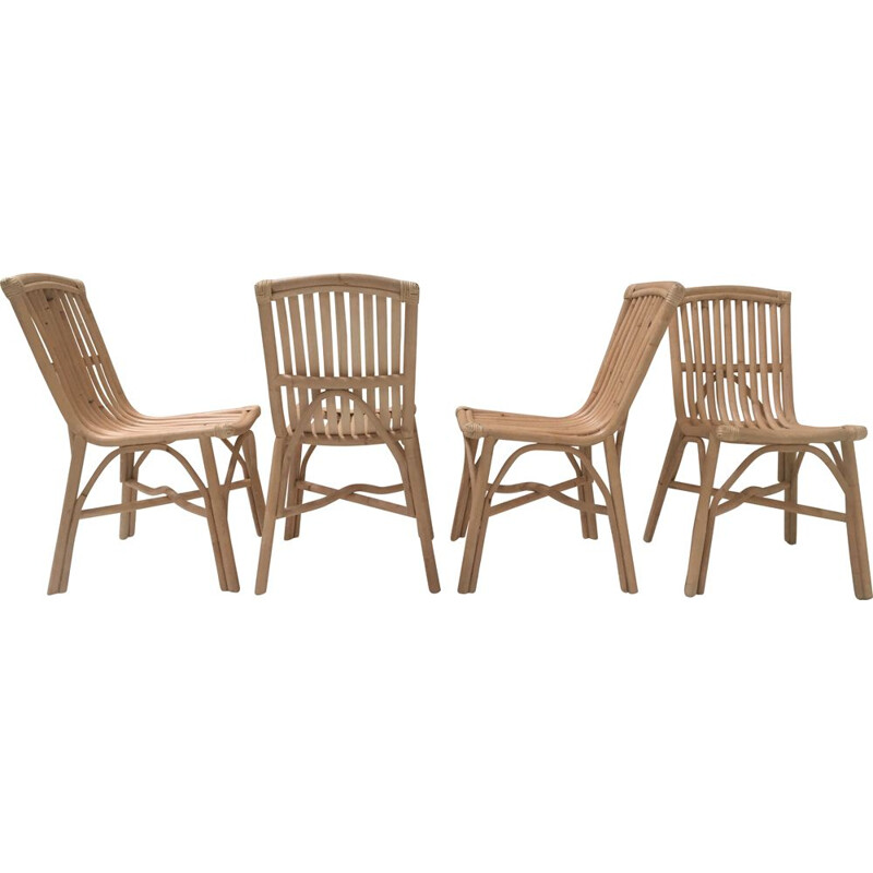 Set of 4 vintage rattan chairs