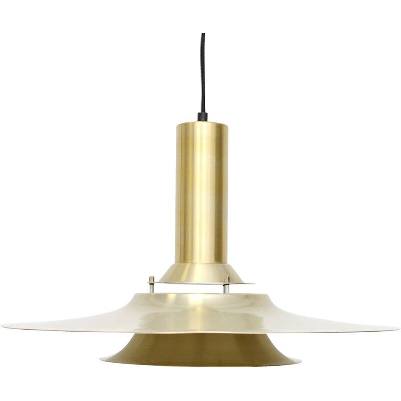 Vintage pendant lamp in golden brass, Danish 1970s