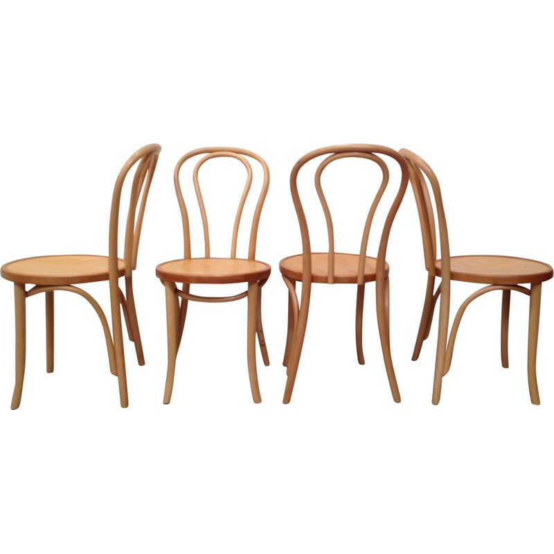 Set of 4 vintage bistro chairs in bent wood