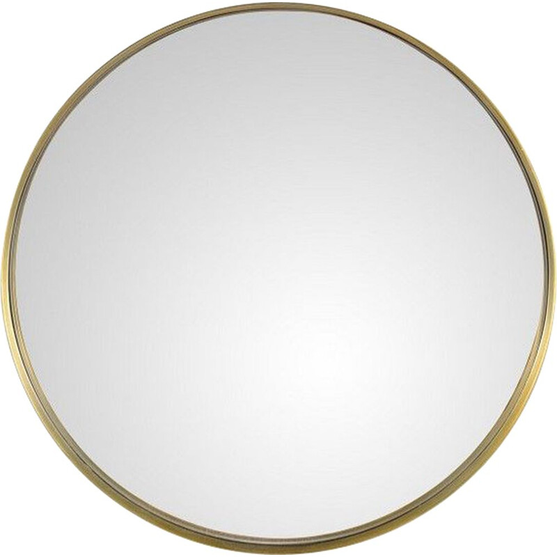 Vintage round mirror on brass outline
