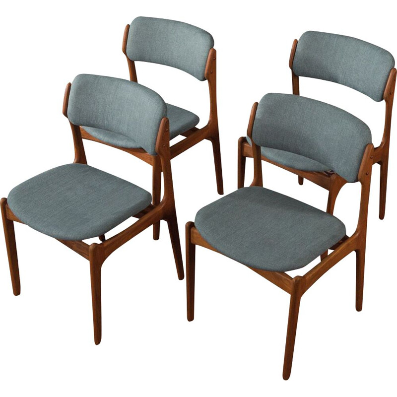 Set of 6 Vintage dining chairs by Erik Buch, Denmark 1960s