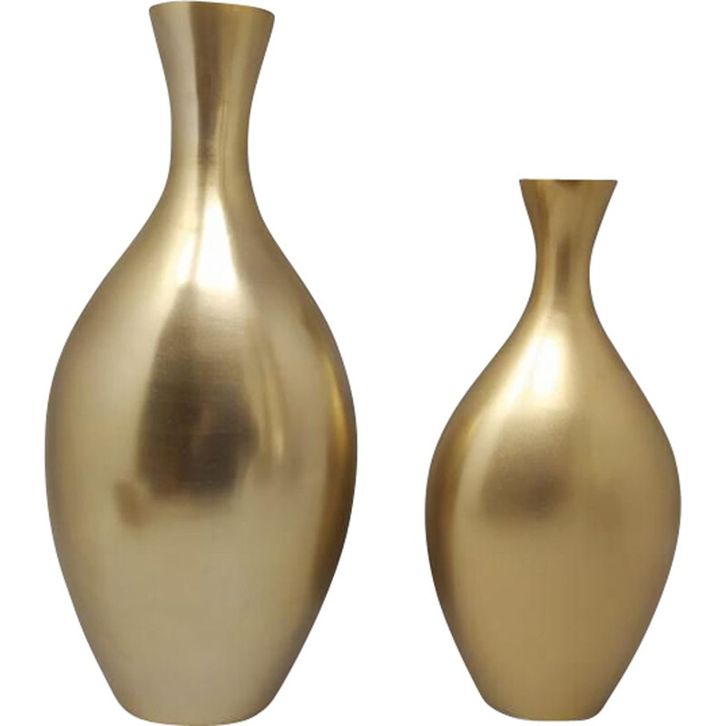 Pair of vintage vases in Ceramic in Gold Color, Italy 1970s