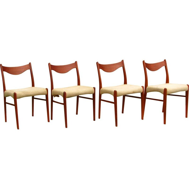Set of 4 vintage dining chairs teak wood, Scandinavian