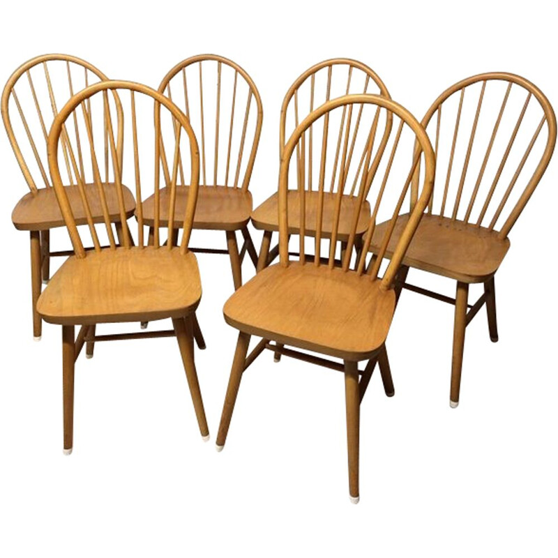 Set of 6 vintage solid beech chairs