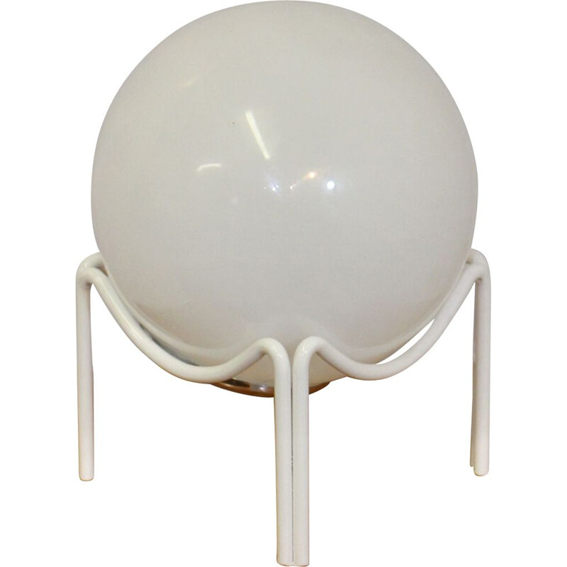 Vintage white opaline spherical lamp 1970s