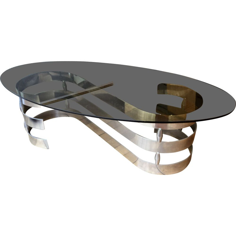 vintage aluminium smoked glass coffee table 1970s