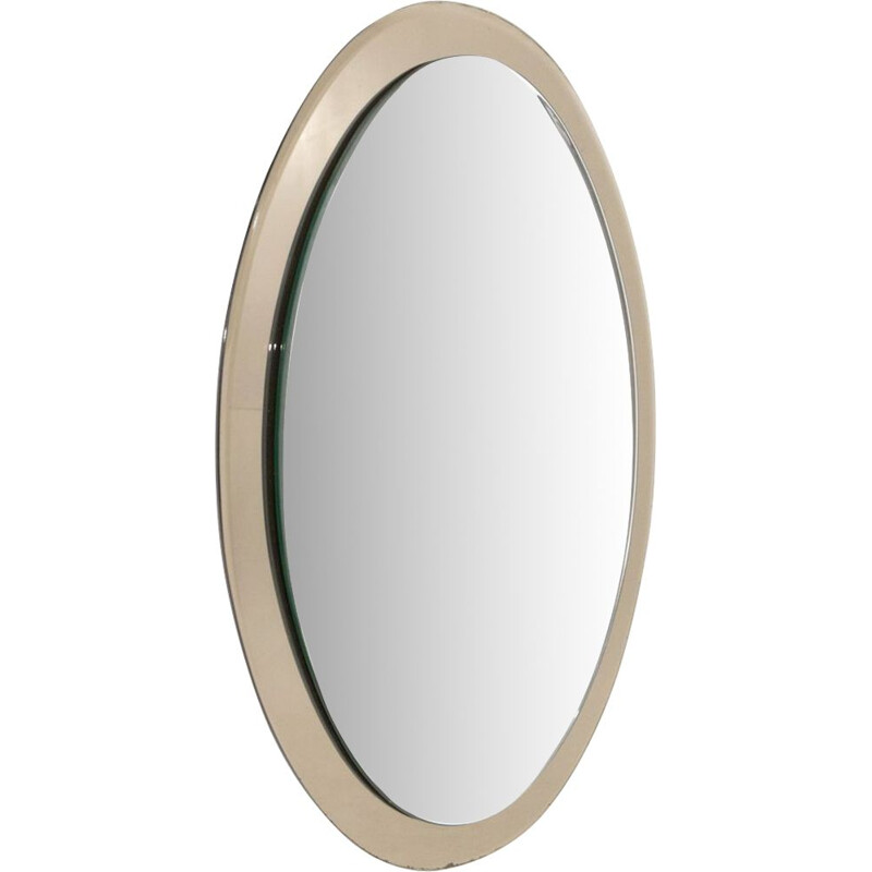 Vintage Oval mirror with mirrored frame, Italy 1970s
