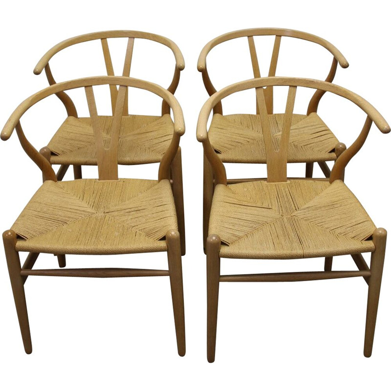 Set of 4 vintage dining chair CH24 by Hans J Wegner
