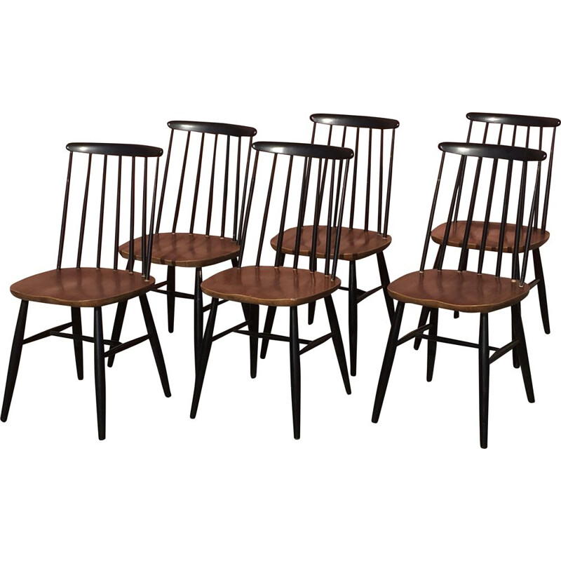 "Set of 6 vintage ""fanett"" style bicolor chairs"