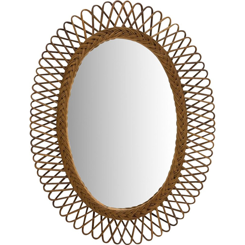 Vintage Oval mirror with woven rattan frame 1950s