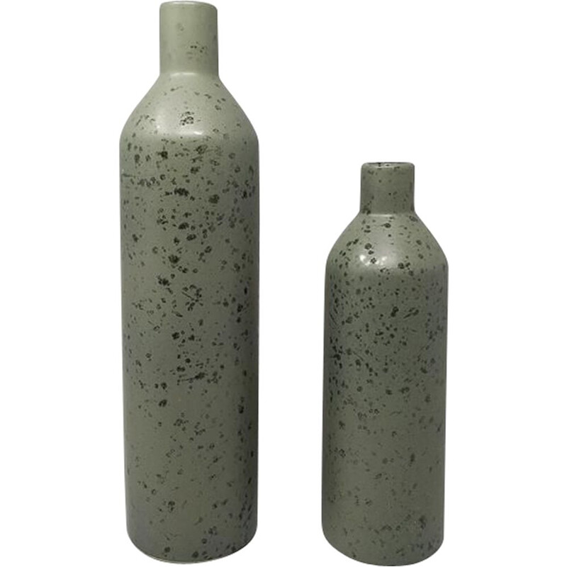 Pair of vintage Vases in Ceramic Green, Italy 1970s