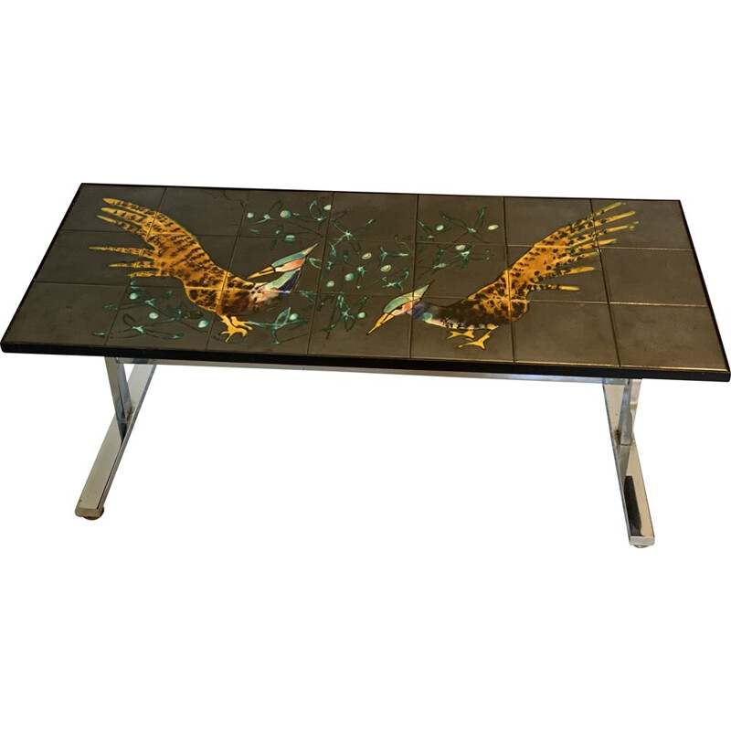 Vintage Ceramic and Polished Steel Coffee Table, Italy