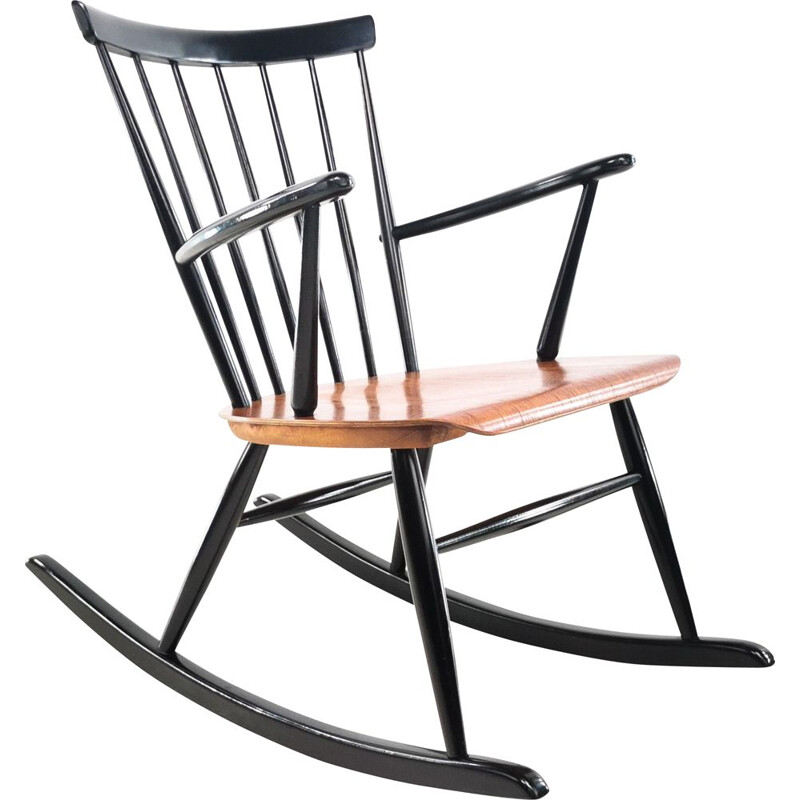 Vintage Hagafors Rocking Chair by Roland Rainer, Swedish 1960s