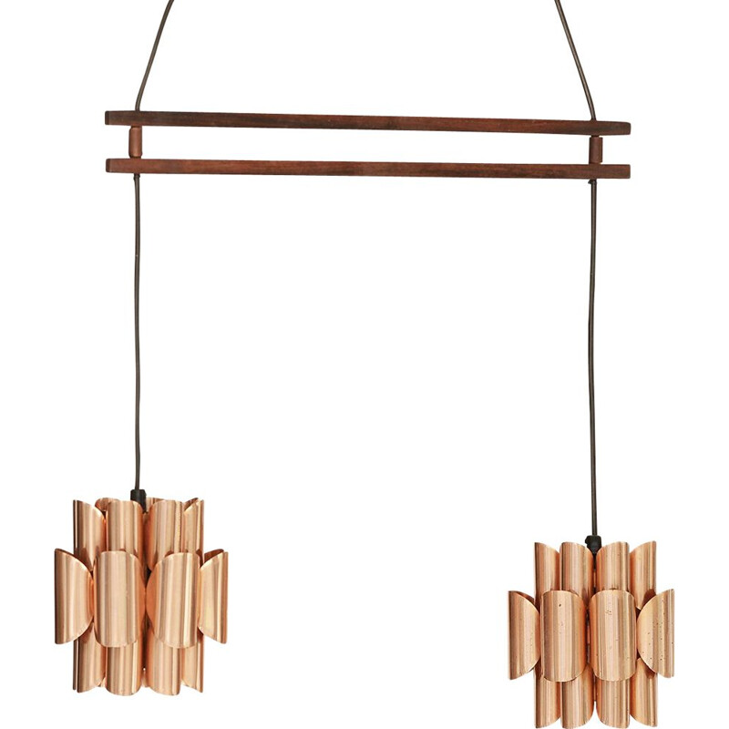 Vintage Double copper pendant light by Werner Schou for Coronell Elektro, Denmark 1960s